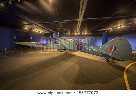 MANAMA, BAHRAIN - OCT 29, 2016: The iconic Supermarine Spitfire Aircraft in an Exhibition at the Bahrain National Museum - the aircraft that defended the skies during the Second World War