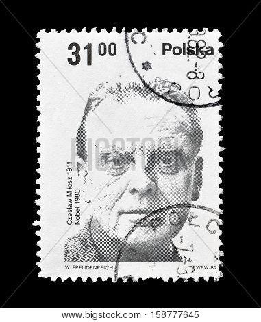 POLAND - CIRCA 1982 : Cancelled postage stamp printed by Poland, that shows Czeslav Milosz.