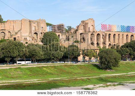 Mausoleum ruins of romulus in rome, italy