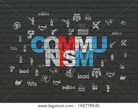 Politics concept: Painted multicolor text Communism on Black Brick wall background with  Hand Drawn Politics Icons