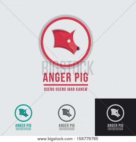 anger pig logo for any pork restaurant or pork farm with geometric grid system