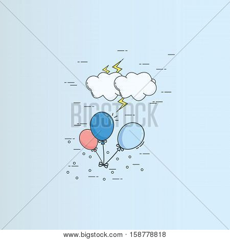 Flying baloon with cloud and thunder in the sky high illustration