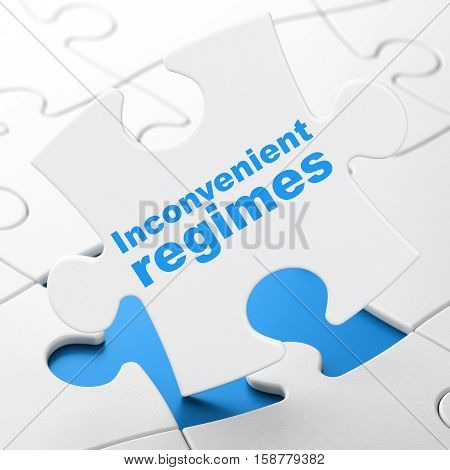 Politics concept: Inconvenient Regimes on White puzzle pieces background, 3D rendering
