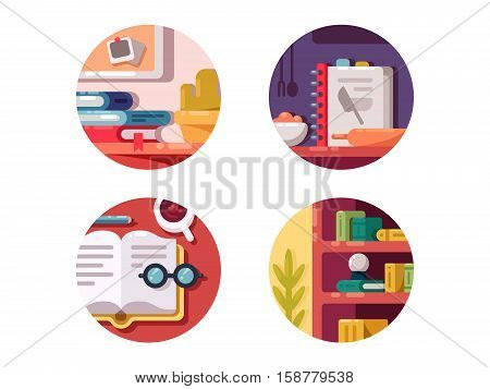 Books for education, training or culinary. Literature for pleasure. Vector illustration