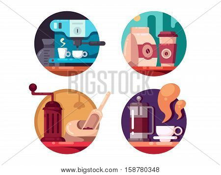 Hot invigorating drink. Grind and brew coffee beans. Vector illustration