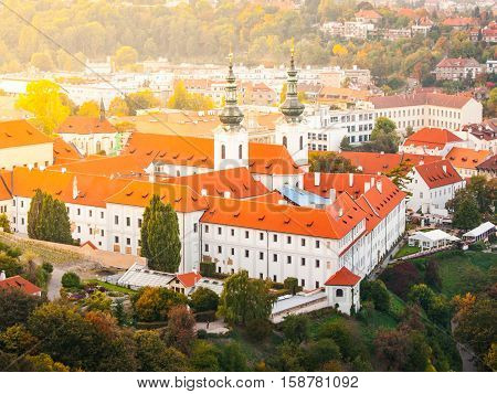 Aerial view of Strahov Monastery in Hradcany near Prague Castle on sunny evening, Prague - capital city of Czech Republic, Europe. UNESCO World Heritage Site.