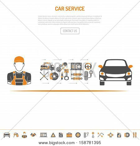 Car Service Concept with flat two color Icons set for Advertising and service station like Mechanic, Battery, Oil, car. isolated vector illustration
