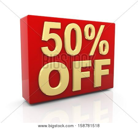 3d illustration of 50 per cent off sale discount