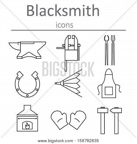 Blacksmithing craft. Blacksmith tools icons. Vector illustration.