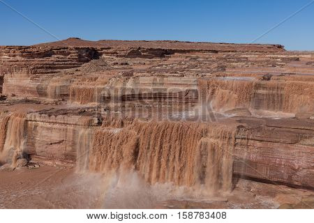 scenic grand falls (aka, chocolate falls) along the little Colorado river in northern Arizona