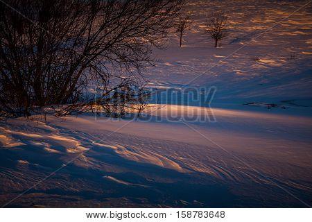 Snow drifts illuminated by the evening sun at sunset