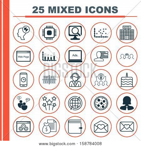 Set Of 25 Universal Editable Icons. Can Be Used For Web, Mobile And App Design. Includes Icons Such As Plot Diagram, Segmented Bar Graph, World And More.