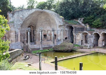 The hadrian villa, adriana is a large roman archaeological complex at tivoli, Italy