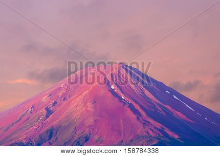 Mount Fuji Detail Pink Cone Sky Morning Sunrise H