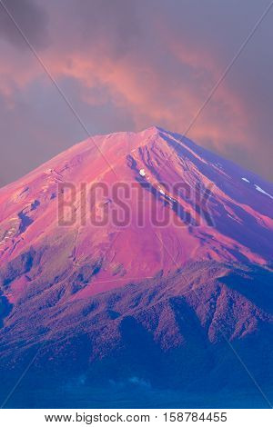 Mount Fuji Detail Pink Cone Sky Morning Sunrise V