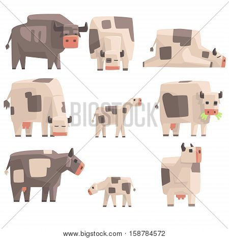 Toy Simple Geometric Farm Cows Standing And Laying While Browsing Set Of Funny Animals Vector Illustrations. Collection Of Stylized Animals For Video Game Platformer.