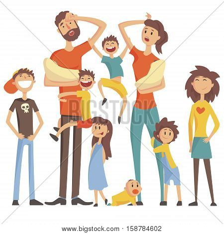 Happy Caucasian Family With Many Children Portrait With All The Kids And Babies And Tired Parents Colorful Illustration. Cartoon Loving Family Members Drawing With Children Of Different Ages, Man And Woman.