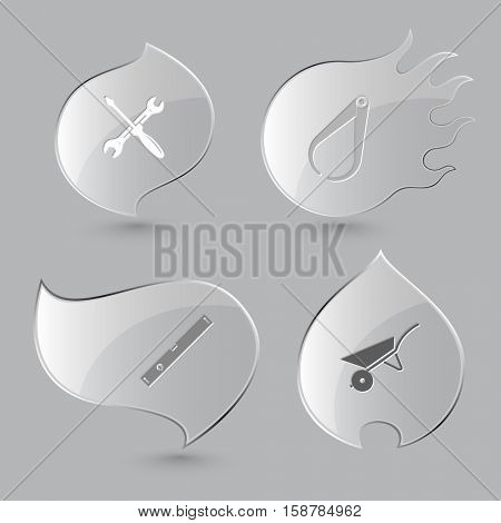 4 images: screwdriver and spanner, caliper, spirit level, wheelbarrow. Industrial tools set. Glass buttons on gray background. Fire theme. Vector icons.