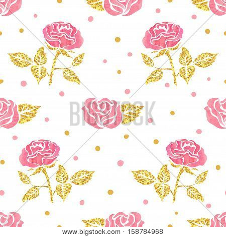 Pink and golden roses seamless pattern. Vector floral background.