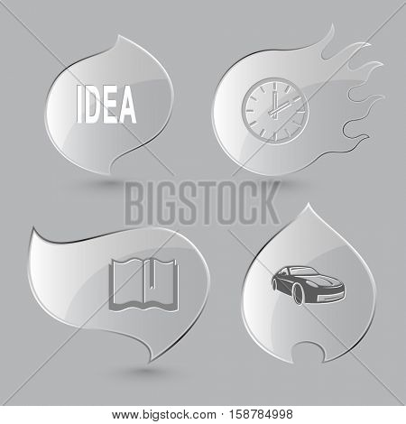 4 images: idea, clock, book, car. Business set. Glass buttons on gray background. Fire theme. Vector icons.