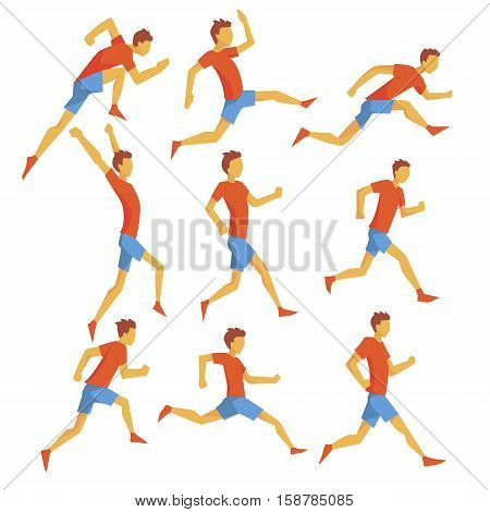 Male Sportsman Running The Track With Obstacles And Hurdles In Red Top And Blue Short In Racing Competition Set Of Illustrations. Cartoon Character Hurdling Training And Jogging Fitness And Healthy Lifestyle Related Geometrical Icons. poster