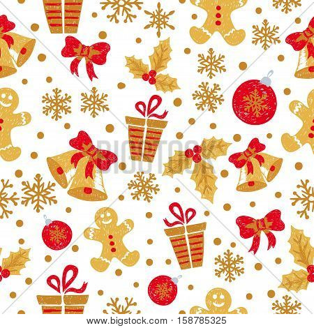 Christmas and New Year seamless pattern with doodle bells balls snowflakes. Vector holiday background in red and golden colors.