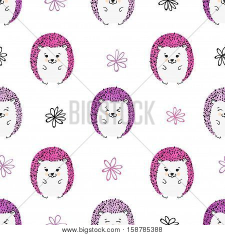 Seamless pattern with cute colorful hedgehogs. Vector background for kids