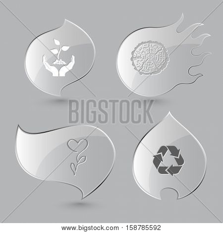 4 images: plant in hands, cut of tree, flower, recycle symbol. Nature set. Glass buttons on gray background. Fire theme. Vector icons.