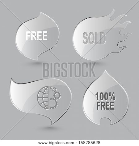 4 images: free, sold, globe and gears, 100% free. Business set. Glass buttons on gray background. Fire theme. Vector icons.