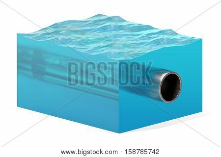 3d rendering of cross section of water cube with cylinder underwater