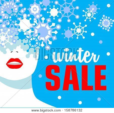 Winter sale. Banner. Fashion girl. Snowflakes. Bold, minimal style. Pop Art. OpArt, positive negative space and colour.Vector illustration - stock vector