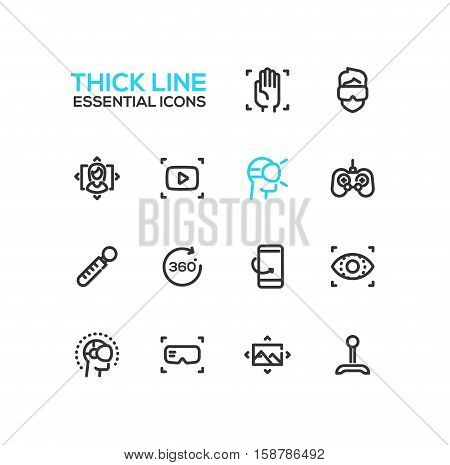 Virtual Reality - modern vector plain simple thick line design icons and pictograms set.