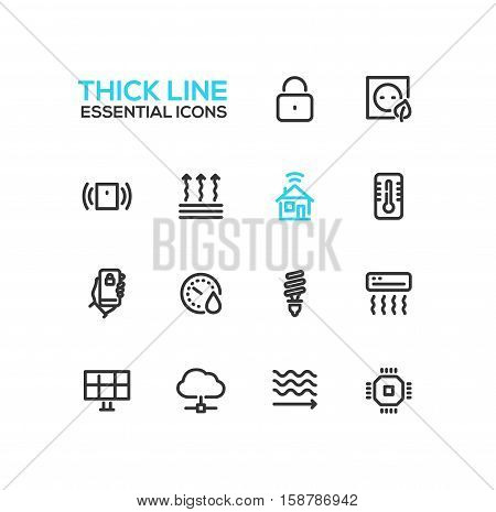 Smart House - modern vector plain simple thick line design icons and pictograms set. Padlock, energy saving, alarm system, climate control, mobile device, solar battery, heat leak, microchip