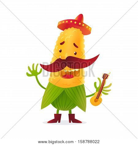 Happy corn character in boots and Mexican holding guitar, cartoon vector illustration isolated on white background. Yellow corn in boots and sombrero with thick moustache playing Mexican guitar