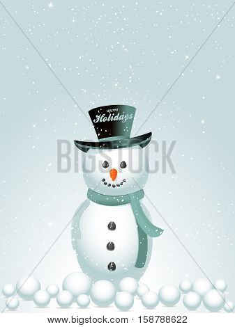 Snow Man with Hat with Happy Holidays Text and Snow Balls Background