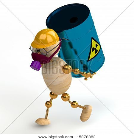 3D Wood Man With A Radioactive Waste