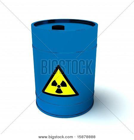 3D Blue Barrel Radioactive Waste