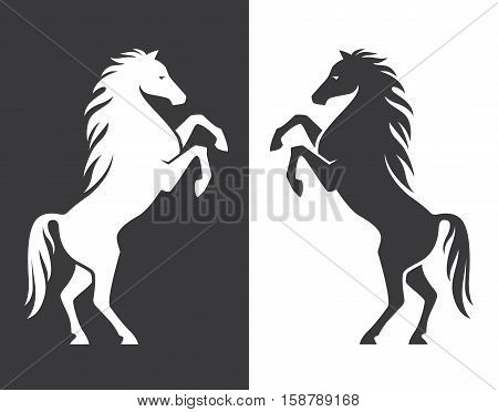 Rearing up horse monochrome silhouette. Can be used for logo emblem or heraldry design concept