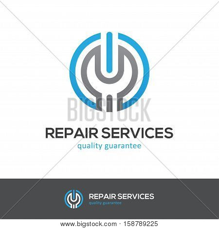 Round icon with wrench and power button. Can be used for computer cellphone or home appliances repair services logo concept