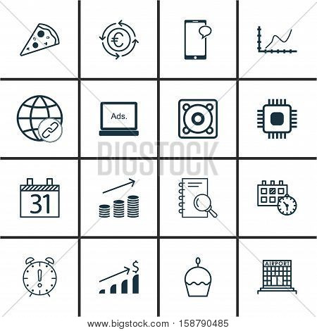 Set Of 16 Universal Editable Icons. Can Be Used For Web, Mobile And App Design. Includes Icons Such As Appointment, Chip, Messaging And More.
