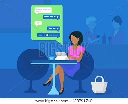 Young woman working with tablet pc and drinking coffee in student cafe. Flat modern illustration of sending messages via messenger app and texting to friends