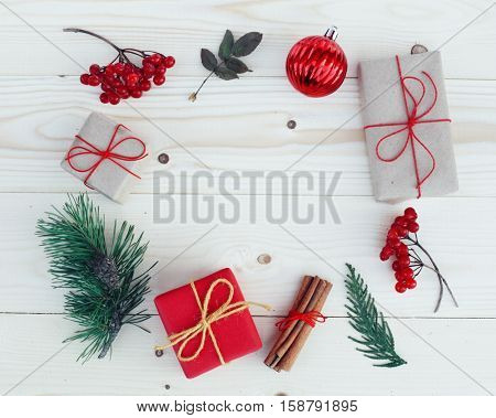 Christmas gift boxes illustration. Flat lay