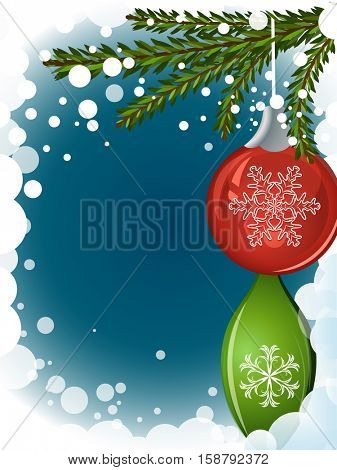 Abstract Christmas background with hanging decoration and copy space. Vector illustration.