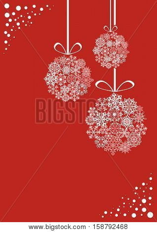 Red and white Christmas vertical card with hanging snowflake decoration balls vector template.