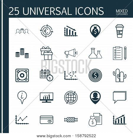 Set Of 25 Universal Editable Icons. Can Be Used For Web, Mobile And App Design. Includes Icons Such As Money, Plot Diagram, Media Campaign And More.