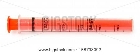 special syringe for dosing and an easier flow of syrup for kids. Isolated on white background