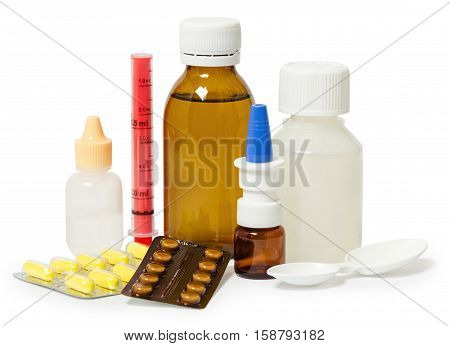 set of medicines for the treatment of various ailments and symptoms. Isolated on white background
