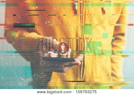 Generation C concept connected consumer using smartphone electronics and internet technology to create a network of his virtual friends in online community digital glitch effect added in post production