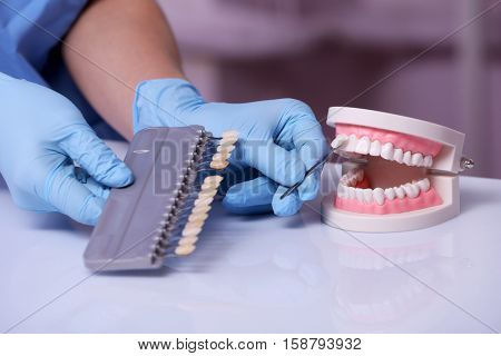 Dentist working with artificial teeth in laboratory