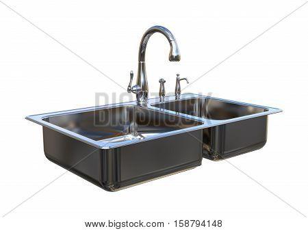 3D Rendering Kitchen Sink On White